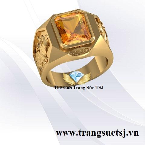 Nhẫn Nam Phong Thủy mặt Đá Citrine Vàng