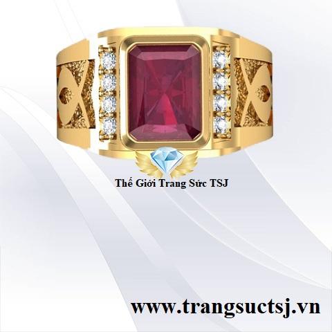 Nhẫn Nam Ruby Đỏ Vàng 18k Đẹp Giá Rẻ TPHCM