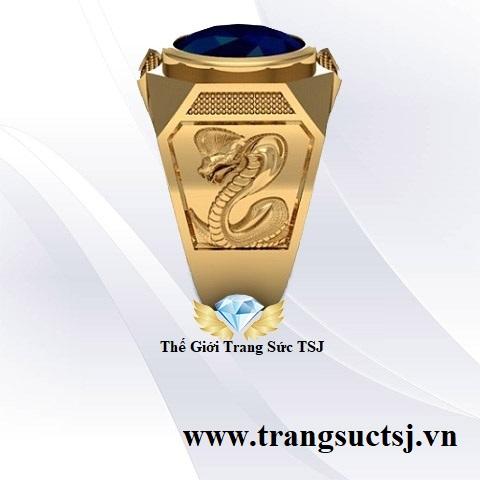 Nhẫn Nam Sang Trọng Đá Sapphire Xanh Bích Trang Sức TSJ