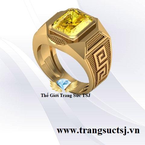 Nhẫn Nam Sapphire Vàng Hiện Đại Đá Đẳng Cấp Doanh Nhân