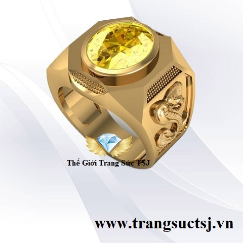 Nhẫn Nam Sapphire Vàng Phong Thủy