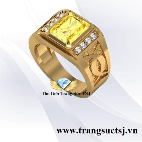 Nhẫn Nam Sapphire Vàng Thời Thượng