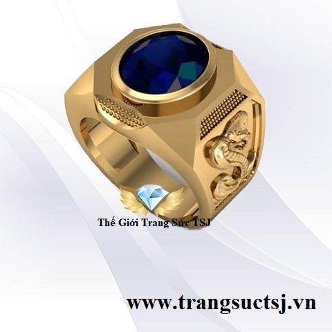 Nhẫn Nam Sapphire Xanh Bích Hợp Mệnh Mộc
