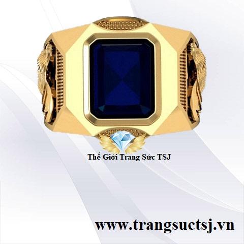 Nhẫn Nam Sapphire Xanh Bích Sang Trọng Cho Nam Giới