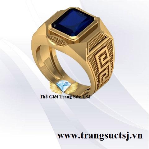 Nhẫn Nam Sapphire Xanh Bích Sang Trọng Thời Trang