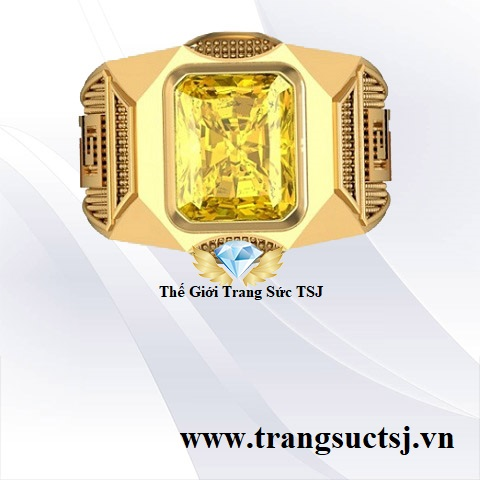 Nhẫn Nam Thời Trang Nam Đá Sapphire Vàng Đẹp