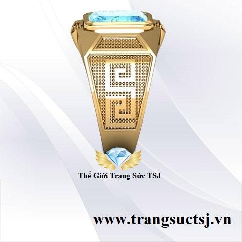 Nhẫn Nam Topaz Xanh Đẹp Vàng 18k