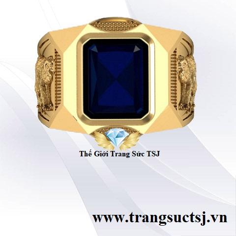 Nhẫn Phong Thủy Đá Sapphire xanh bích Hình 12 Con Giáp