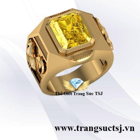 Nhẫn Sapphire Vàng Hợp Mệnh Kim Khắc Hình Gà
