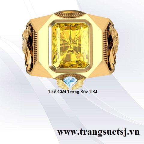 Nhẫn Thời Trang Nam Đính Đá Sapphire Vàng
