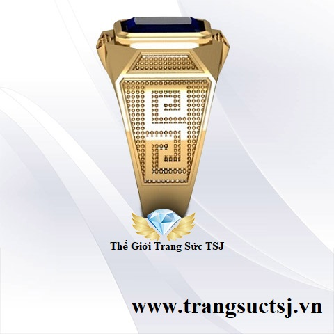 Nhẫn Thời Trang Nam Mặt Đá Sapphire Chữ Nhật