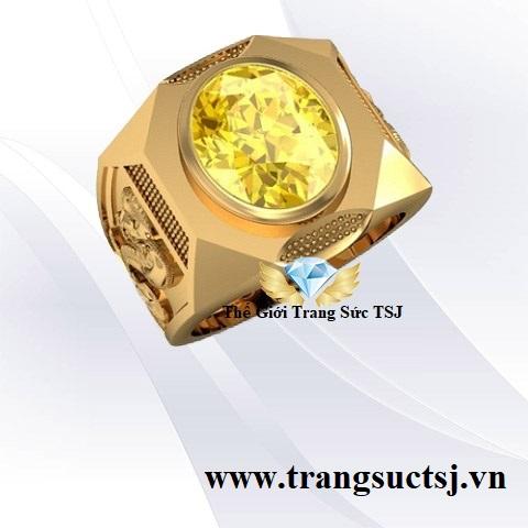 Nhẫn Vàng 18k Nam Tuổi Tỵ Đá Sapphire Vàng