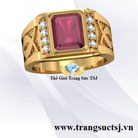 Nhẫn Vàng Nam 18k Mặt Đá Đỏ Ruby Thời Trang