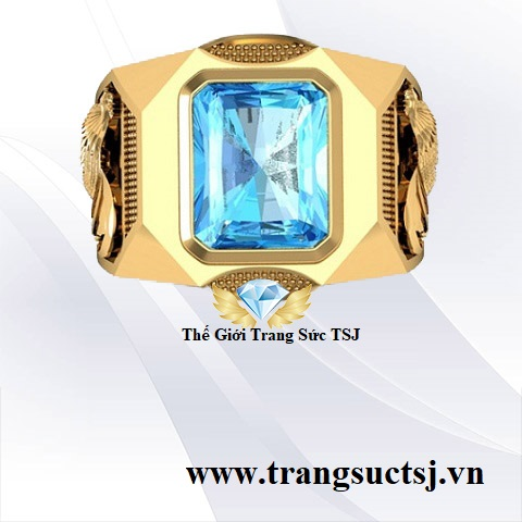 Trang Sức Vàng Đá Topaz Xanh Đẹp Cho Nam