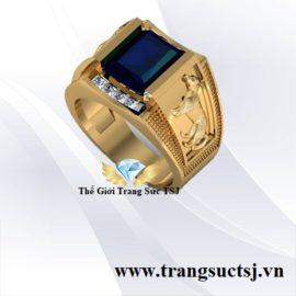 Nhẫn Nam Tuổi Tuất Mệnh Thủy Đẹp- Mặt Đá Sapphire Xanh Bích