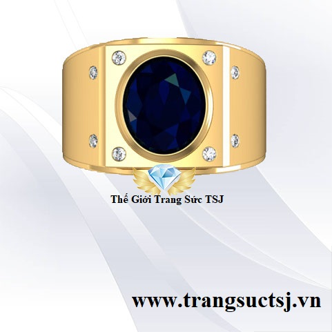 Nhẫn Kiểu Nam Mặt Đá Sapphire - Trang Sức TSJ