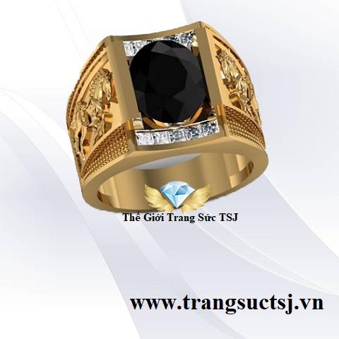Nhẫn Nam Bính Ngọ Đá Sapphire Đen