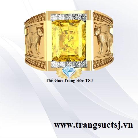 Nhẫn Nam Sapphire Vàng Đẳng Cấp Sang Trọng- Thế Giới Trang Sức