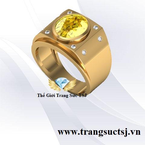 Nhẫn Nam Sapphire Vàng Sang Trọng - Trang Sức TSJ