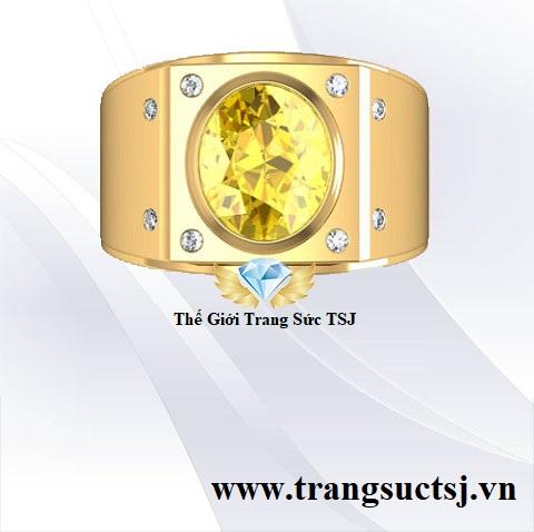 Nhẫn Sapphire Vàng Nam Nhẫn Vàng 18k- Thế Giới Trang Sức TSJ