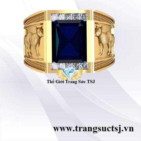 Nhẫn Sapphire Xanh Bích Cho Nam Hiện Đại