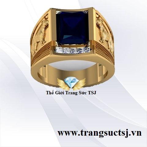 Nhẫn Vàng Nam 18k Đá Sapphire Xanh