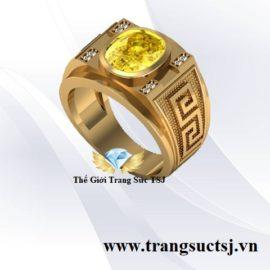 Nhẫn Nam Sapphire Vàng Hiện Đại - Thế Giới Trang Sức TSJ