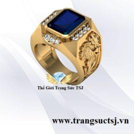 Nhẫn Nam Tỳ Hưu Tài Lộc Mặt Đá Sapphire Xanh Bích