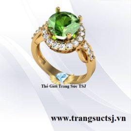 Nhẫn Nữ Vàng 18K Đá Sapphire Xanh Lá