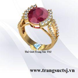 Nhẫn Nữ Vàng 18K Đính Đá Ruby