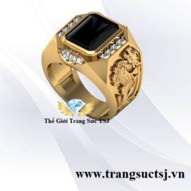 Nhẫn Tỳ Hưu May Mắn Cho Nam Mặt Đá Sapphire Đen