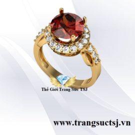 Nhẫn Vàng Tây Cho Nữ Đá Garnet