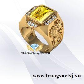 Nhẫn Vàng Tỳ Hưu Cho Nam Đá Sapphire Vàng