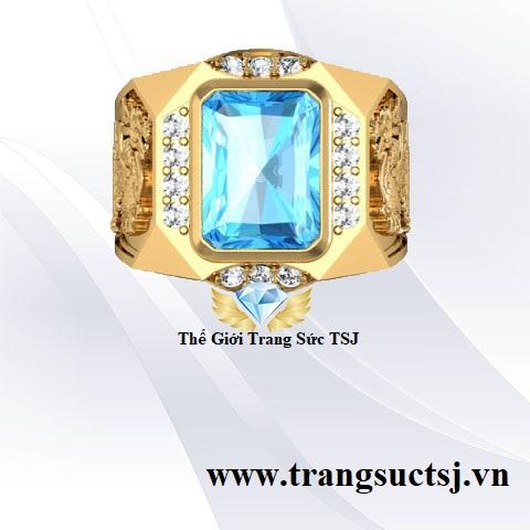 Mẫu Nhẫn Tỳ Hưu Nam Đẹp Vàng 18k Đá Topaz Xanh