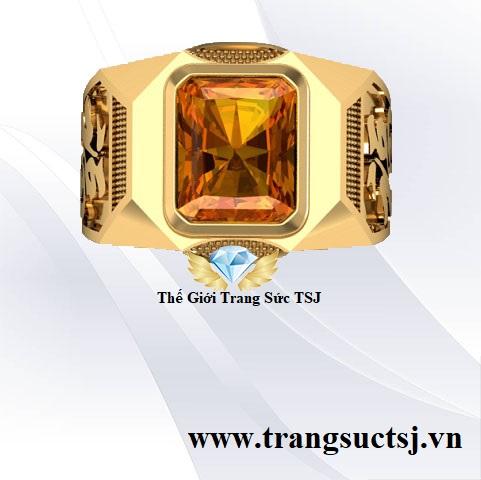 Nhẫn Nam Citrine Vàng Mệnh Thổ Cho Nam