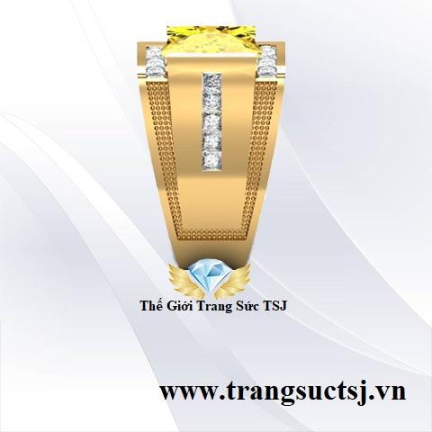 Nhẫn Nam Mặt Đá Sapphire Vàng Hợp Phong Thủy
