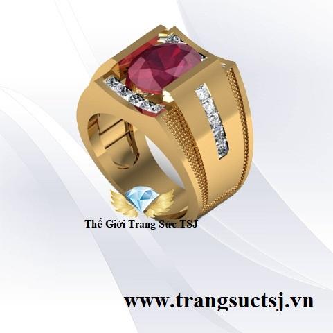 Nhẫn Nam Mệnh Thổ Đá Ruby Đỏ - Trang Sức TSJ