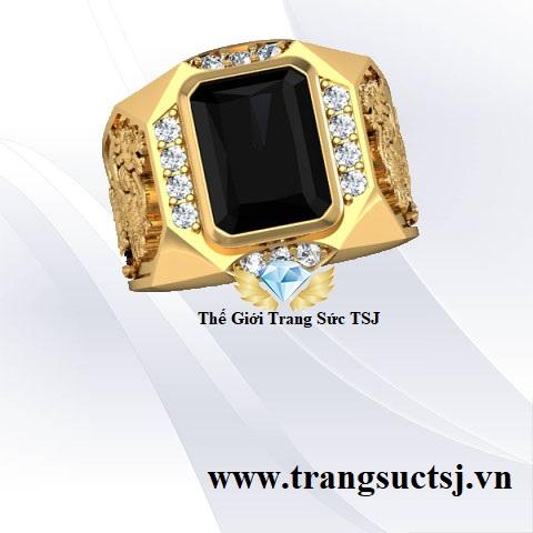 Nhẫn Nam Phong Thủy Đá Sapphire Đen