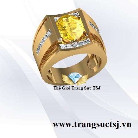 Nhẫn Nam Sapphire Vàng Hiện Đại Đẳng Cấp Doanh Nhân