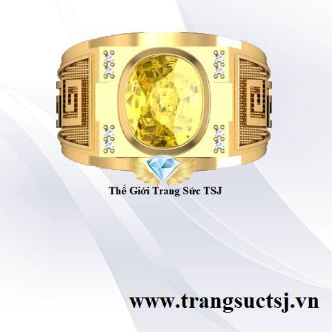 Nhẫn Nam Sapphire Vàng Hợp Phong Thủy