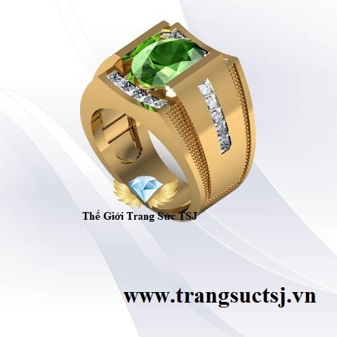 Nhẫn Nam Sapphire Xanh Lá Sang Trọng - Trang Sức Đá Quý TSJ