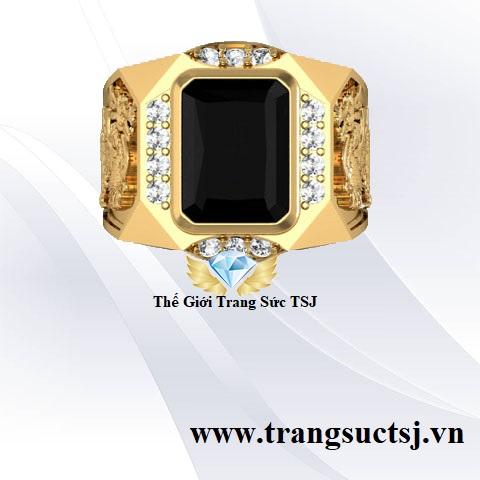 Nhẫn Nam Tỳ Hưu Mệnh Thủy, Mệnh Mộc Đá Sapphire Đen