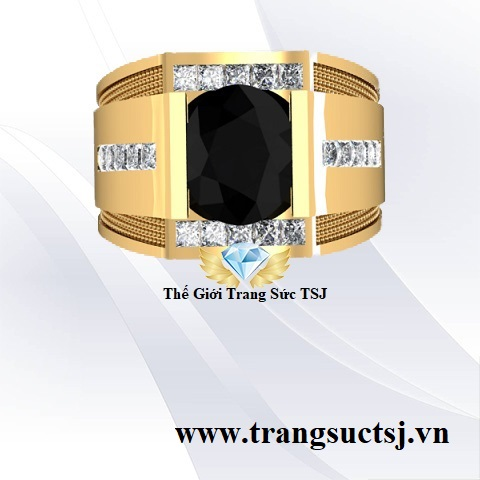 Nhẫn Sapphire Đen Nam Vàng 18k Giá Rẻ