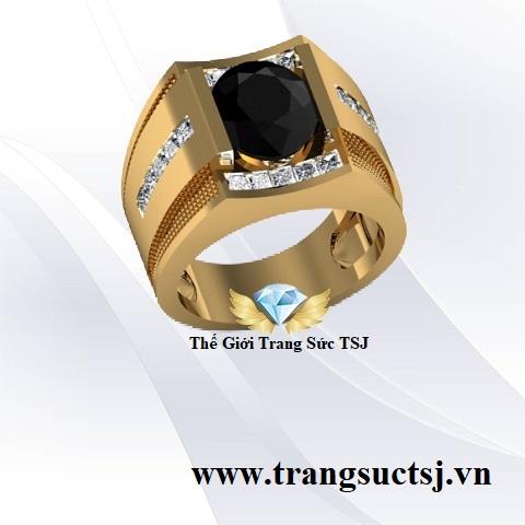 Nhẫn Sapphire Đen Nam Vàng 18k Lịch Lãm