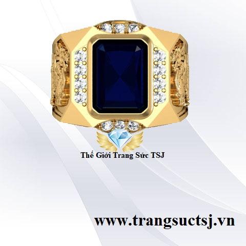 Nhẫn Sapphire Xanh Đính Tỳ Hưu