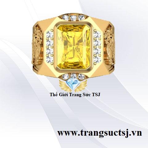 Nhẫn Tỳ Hưu Nam Mệnh Kim Đá Sapphire Vàng