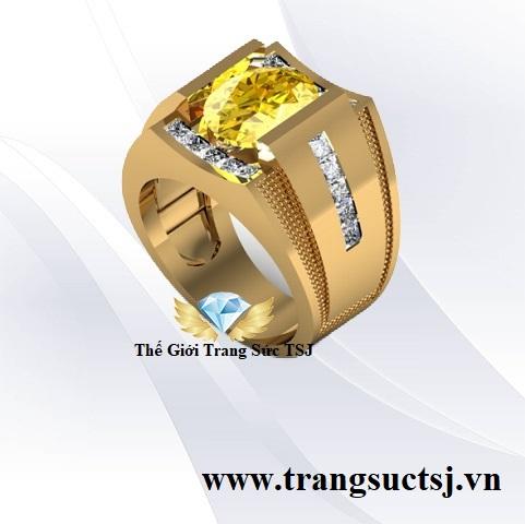 Nhẫn Vàng Nam Thời Thượng Mặt Đá Sapphire Vàng