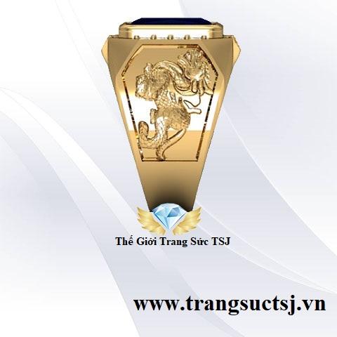 Nhẫn Vàng Tỳ Hưu Cho Nam Đá Sapphire
