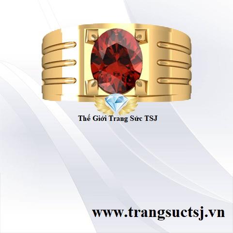 Nhẫn Đá Garnet Ngọc Hồng Lựu Đẹp Thời Trang