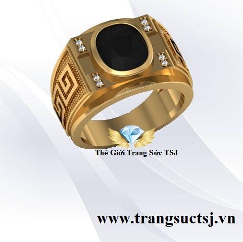 Nhẫn Nam Sapphire Đen Thiết Kế 3D